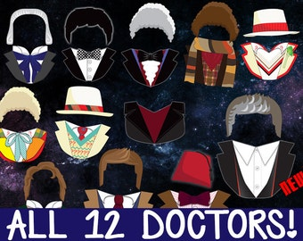 Doctor Who Photobooth Prop Printables - ALL 12 DOCTORS! Download, Print, & Party - Dr Who Photo Booth Paper Props