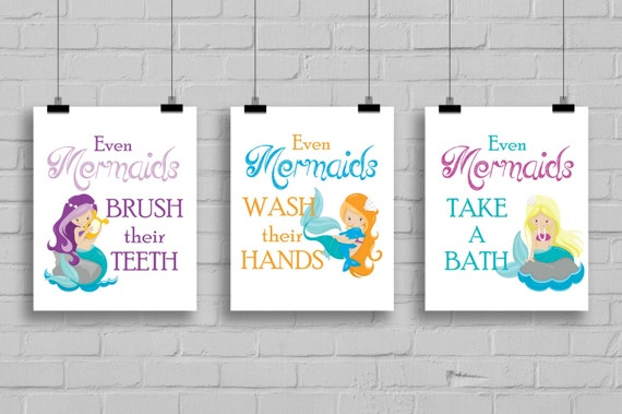 Girls Bathroom Decor: Mermaid Bathroom Decor Girls Bathroomv By SimplyLoveCreations