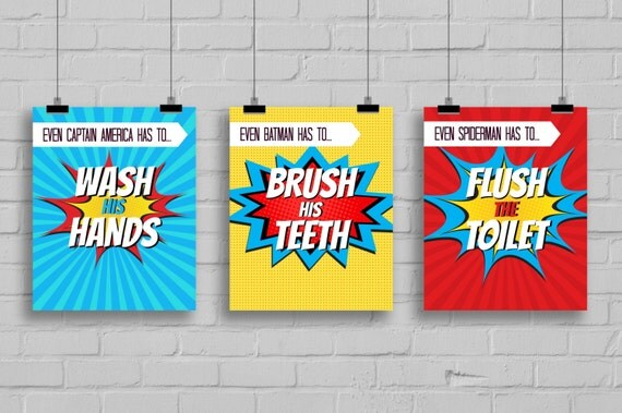 Super Hero Bathroom Prints Bathroom Decor By