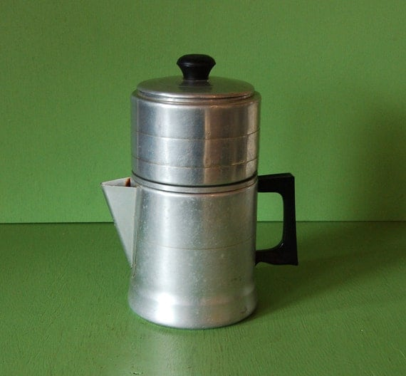 Sears Aluminum Drip Coffee Pot 4 Cup Coffee by PineSpringsCottage