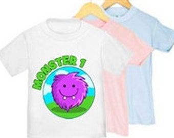 Monster 1 T-shirts for Twins & Triplets - Sizes 2T - 4T