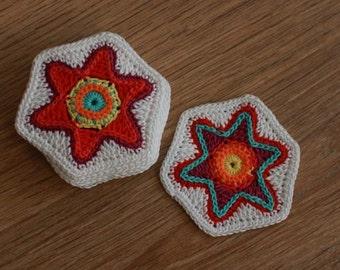 Crochet Pattern-Crochet Colorful Christmas Star Coaster Ornament-PDF #18  by ASmartPattern