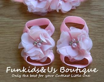 Pink Baby barefoot sandals. Newborn barefoot sandals. Pink barefoot sandals. Shower gift.