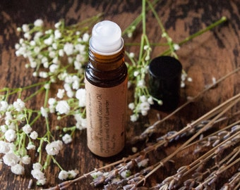 Natural Aromatherapy Roll-on •MEADOW• - 1/3 oz amber bottle // Perfume / Fragrance Oil  // Lavender + Rose