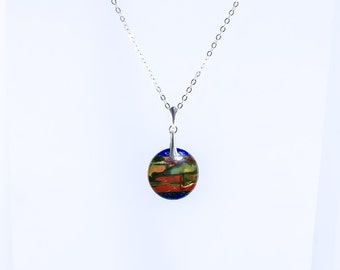Picasso Jasper Necklace, Gemstone Jewelry, Picasso Jasper with Lapis Necklace, Coin necklace