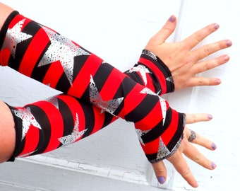 Punk Pirate Arm Warmer Gloves red and black stripe with distressed stars