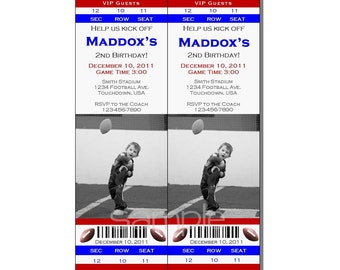 Football Ticket Invitation All Star MVP Birthday Party Red and Blue - Digital File