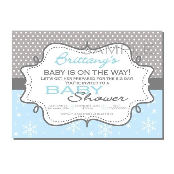 winter wonderland baby shower invitation blue snowflake digital or
