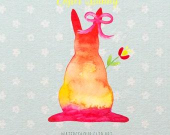 Easter watercolor digital clip art, Easter bunny.