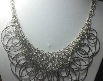 "Express Silver circles bib necklace ~ 20"""
