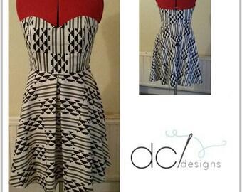 African wax print / Ankara sweetheart neckline strapless circle dress