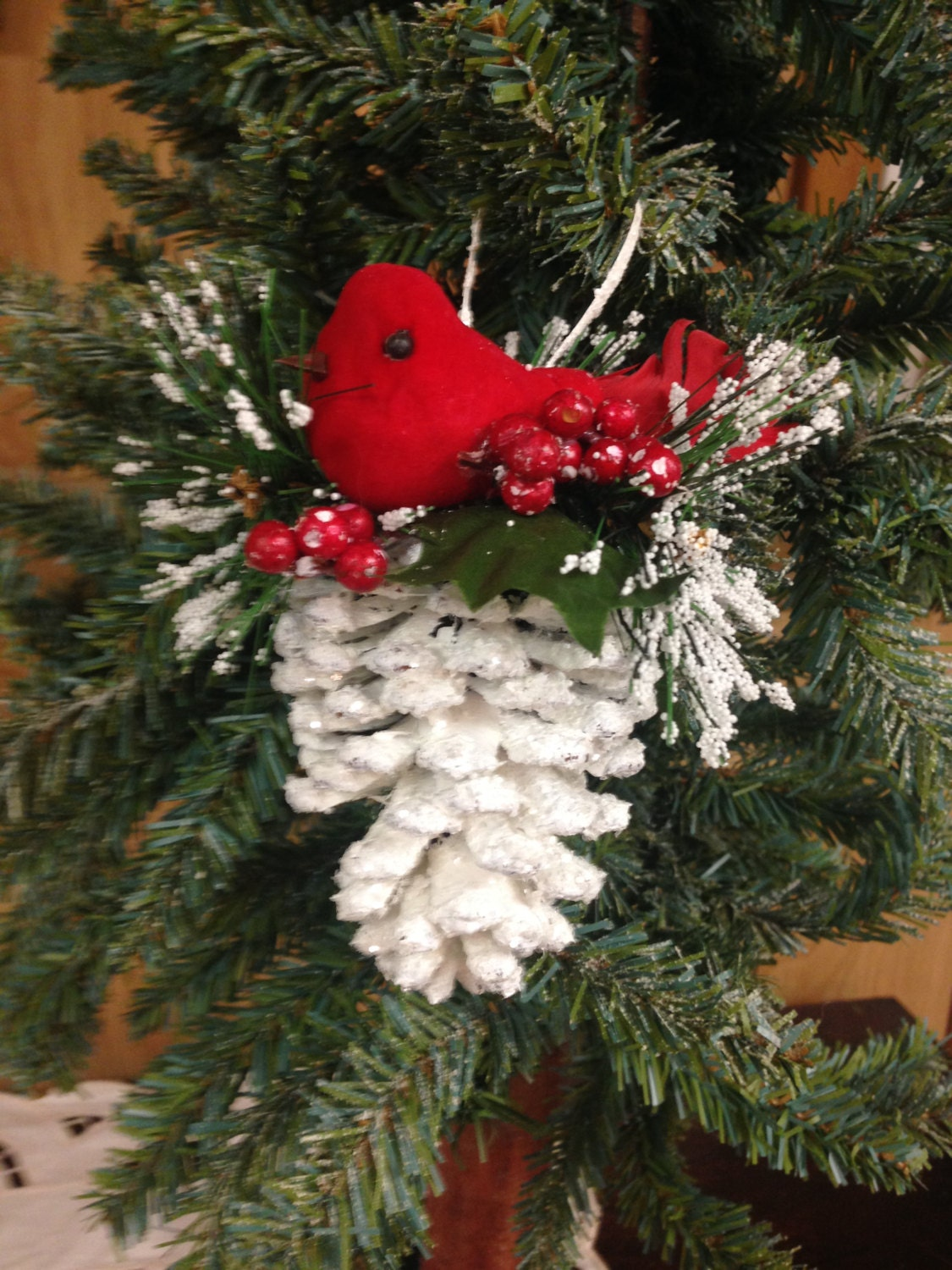 Cardinal christmas ornament pinecone ornament pine cone for What to do with pine cones for christmas