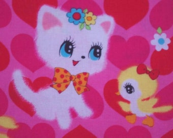 CLEARANCE-3 Color- Half Yard of Honey Tune Kitty Cat and Little Chick, Flower, Heart by Lecien, Made in Japan.
