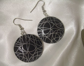 Black and Silver Earrings Silkscreen Polymer Clay with Gift Envelope