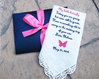 Embroidered-Wedding Handkerchief-for the-Flower Girl-and Future Bride in your wedding!-Wedding Hankerchief