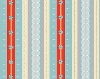 One Yard - Stripe in Blue - Delighted Collection - The Quilted Fish - Riley Blake - Red, Blue, White, Tan -  Quilting Cotton Fabric