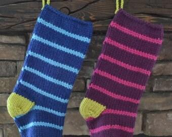 knit christmas stocking: stripes
