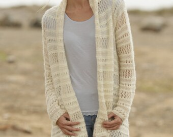 Hand Knitted Jacket / Knit Cardigan In Merino Wool and Alpaca Made to order / Free Shipping !