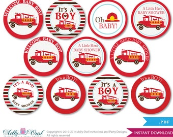 Hero Fireman Cupcake Toppers for Baby Shower Printable DIY, favor tags, circles, It's a Hero, Fire truck - aa43bs0