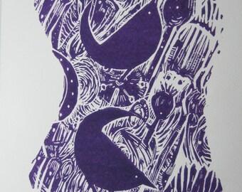 Poppy Seeds -  an original Linocut print