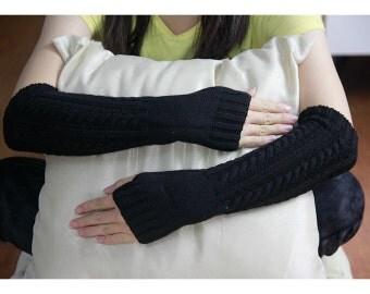 Hand-Black Fingerless Gloves, Open Knit, Fall Mittens, Women's Accessories, Stocking Stuffer, Arm Warmer, Fingerless Gloves zjb0702 6008