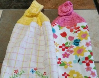 Easter Crochet Topped Towels Gift Set