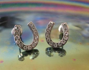 Silver Horseshoe Earrings - Stud Earrings - Rhinestone Tiny Horseshoe Earrings - Horseshoe Earrings - Horseshoe Jewelry - Good Luck Jewelry