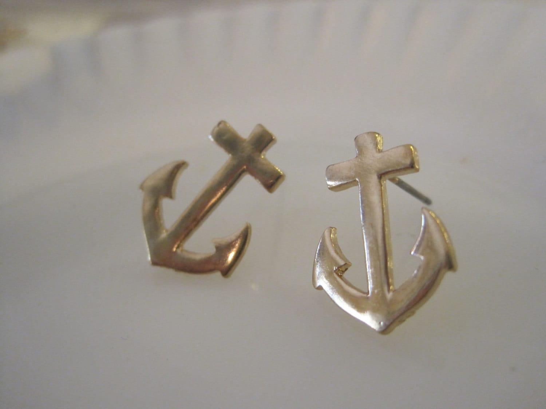 gold anchor earrings stud earrings solid anchor earrings