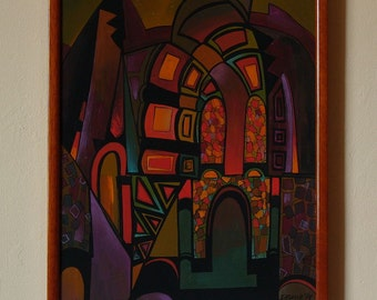 GLITTER - Original painting from the cycle ARCHES,  architectural painting