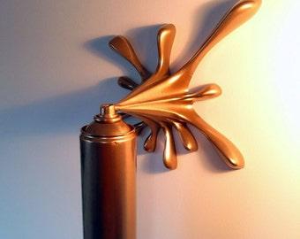 Gold Splash Spray Can Sculpture