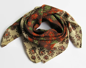 Vintage Scarf - Flower Scarf - Brown Scarf Flowers – Scarf – Flowers - Women Scarf - Green Flower Scarf - Red Flower Scarf – Shawl - Gift