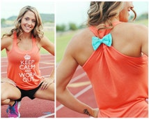 MORE COLORS, Keep Calm and Workout, Bow Tank Top, Fitness Tank Top, Fitness Motivation, Racerback Tank