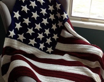 stars and stipes cotton afghan; Memorial Day or 4th of July gift