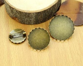 Wholesale 100pcs Handmade Round Lace Border Brooch/Safe Pin/Breast Pin Pendant Trays  -30mm Bezel Cabochon Settings - Pendant Tray Blanks