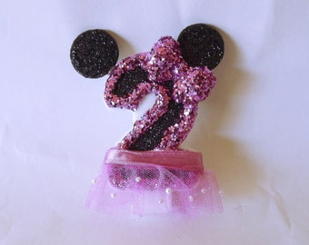 Minnie Mouse Inspired Glitter Candle- Pink- 2nd birthday