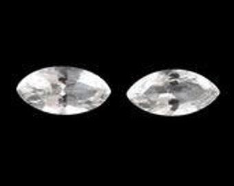 Golconda White Topaz Ouro Preto Diamond Cut Loose Gemstones Set of 2 Marquise Cut 1A Quality 8x4mm TGW 1.10 cts.