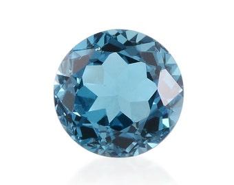 London Blue Topaz Loose Gemstone Round Cut 1A Quality 9mm TGW 2.95 cts.
