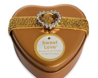 Gift Ring Box Gold Heart