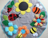 Great baby Play-Mat, Baby  Busy Blanket, Montessori Baby, Activity Playmat, Bugs and flowers baby mat