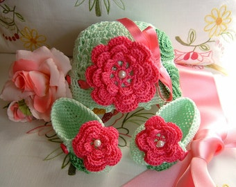 Hat and booties handmade cotton crochet light green with Fuchsia flowers applied. Crochet fashion baby summer