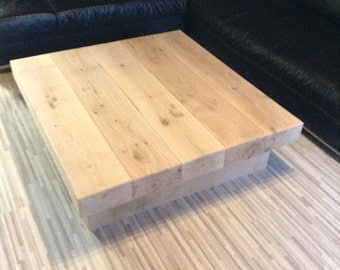 Chunky large solid oak handmade coffee table. CAVEMAN FURNITURE