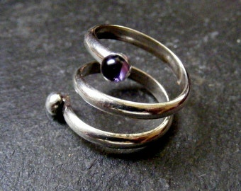 Silver Spiral Coil Ring with Amethyst Wraparound Amethyst ring