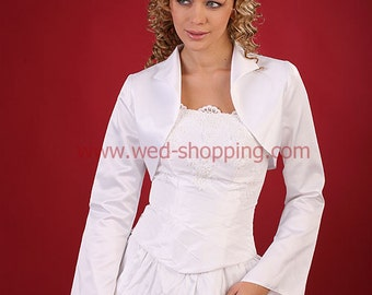 Bridal bolero jacket satin FULL sleevs stand-up collar bridesmaid bolero A1018