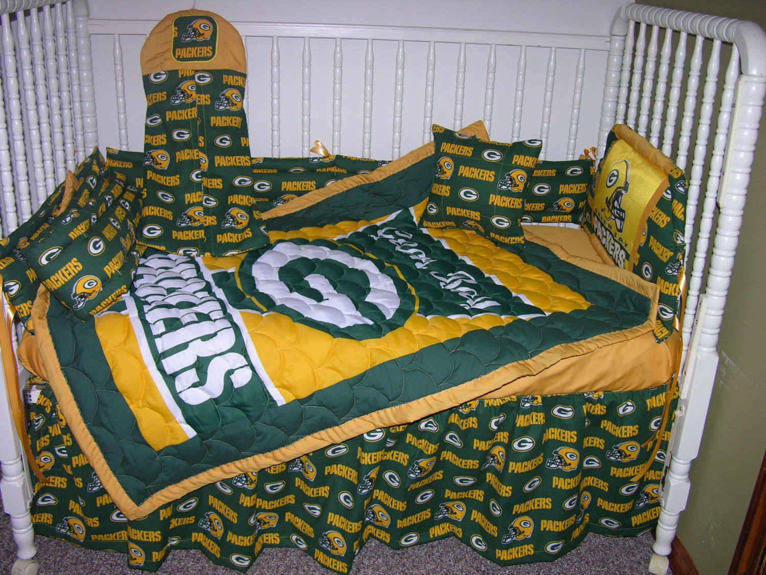 New crib bedding m w green bay packers fabric for Upholstery fabric for baby nursery