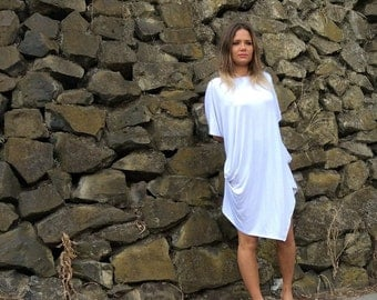 White Asymmetric Loose Oversize Kaftan/Tunic/Top  Short Sleeve Style:3002
