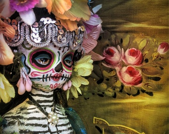 Beautiful Mortal Dia De Los Muertos Flower Doll canon PRINT 603 Reproduction by Michael brown