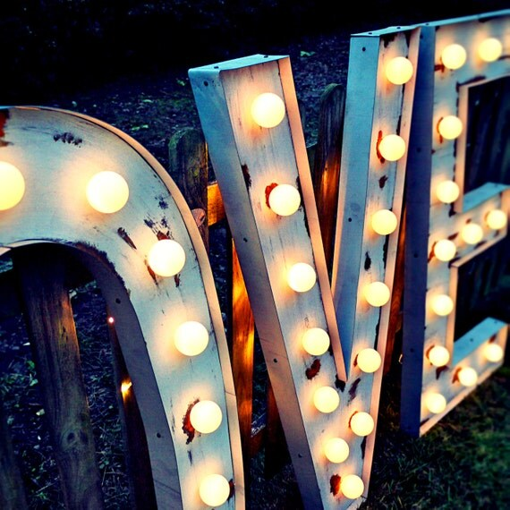 LOVE sign (Relic // Patina // Fun Fair Sign & Light // Vintage themed // Wedding // Distressed // Home lighting)