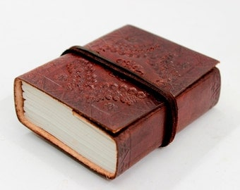 Ancient Classic Embossed Leather Bound Journal Pocket Diary with thin leather strap, gifts for her, gifts for him