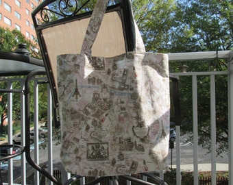 Large Reversible Paris Tote Bag