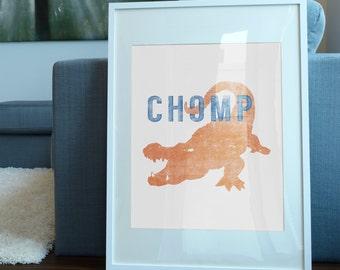 Florida Gators Art Print / University of Florida Inspired Art / Gator Chomp